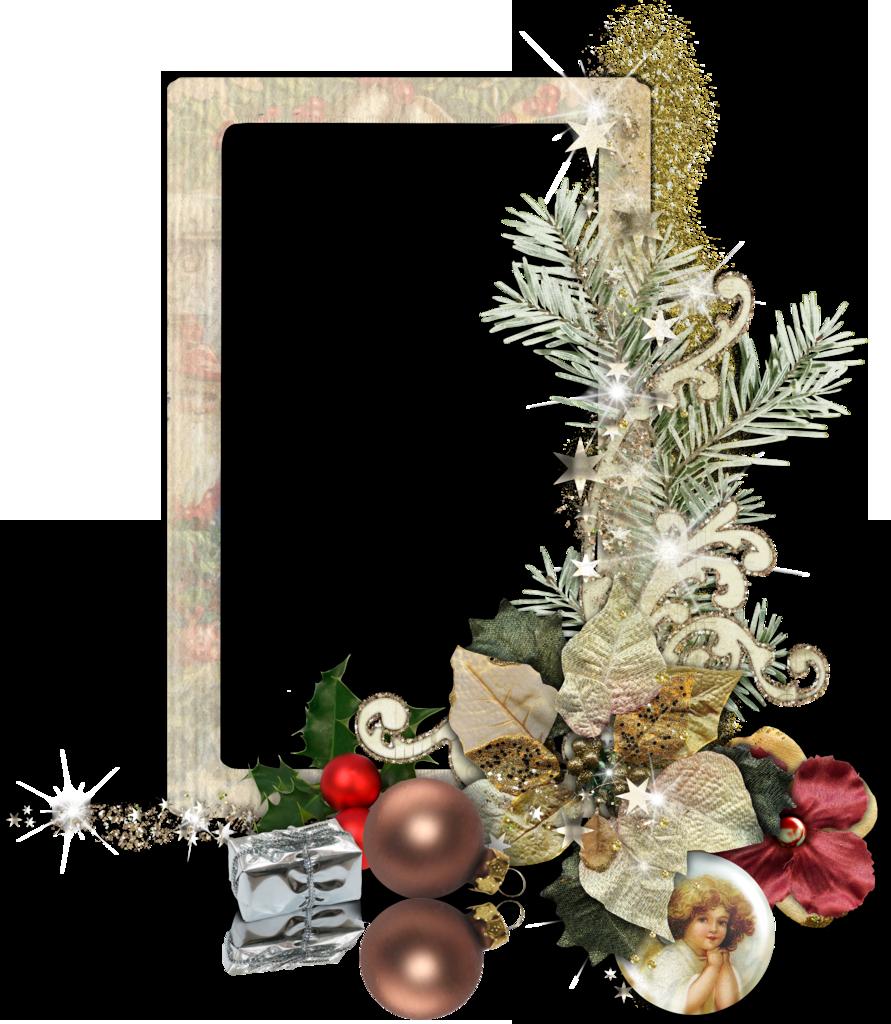 Рамка для фотошопа с еловой веточкой