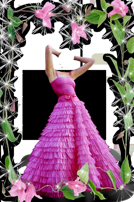 Шаблон для фотошопа - в розовом платье возле цветов